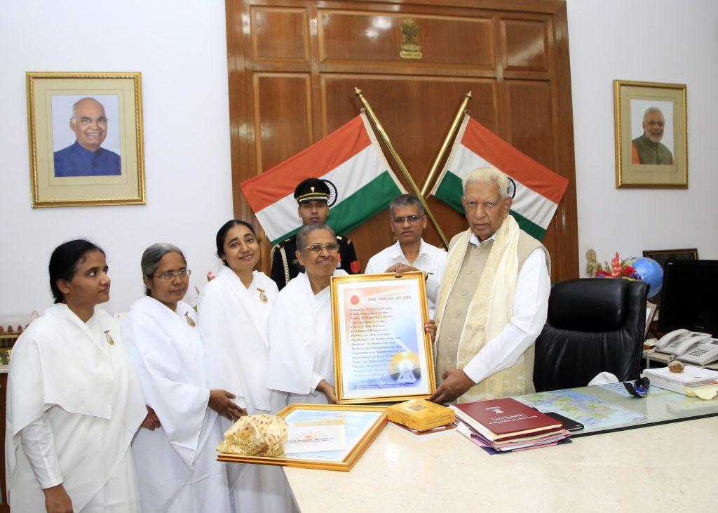 BK Ambika Behenji tied sacred Rakhi toShriVajubhai Rudabhai Vala,